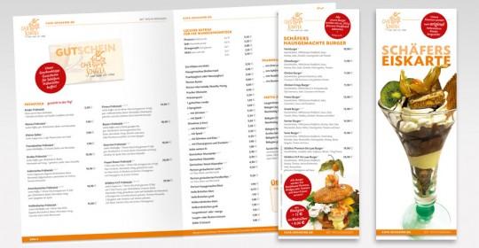 Speise-, Eis- und Burgerkarte